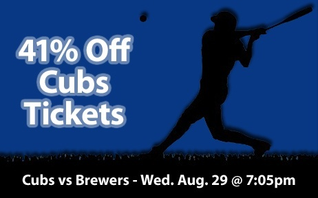 41% off Chicago Cubs Tickets vs Milwaukee Brewers Wed. Aug. 29 @ 7:05pm