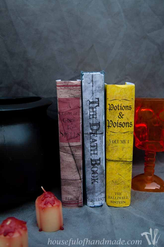 Free printable Halloween book covers for easy scary decorating.  Three covers available that can be scaled to fit any book. From Houseful of Handmade.