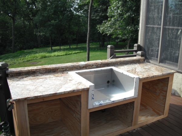 Image Of Enchanting Modular Outdoor Kitchen Frame Kits With Elegant Red  Veined Granite Kitchen Worktops And