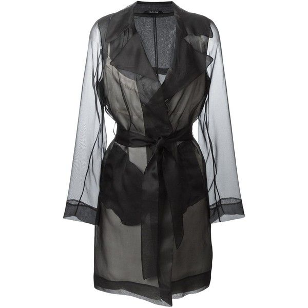 Maison Margiela sheer trench coat (£1,665) ❤ liked on Polyvore featuring outerwear, coats, black, trench coat, silk trench coat, maison margiela, long sleeve coat and silk coat