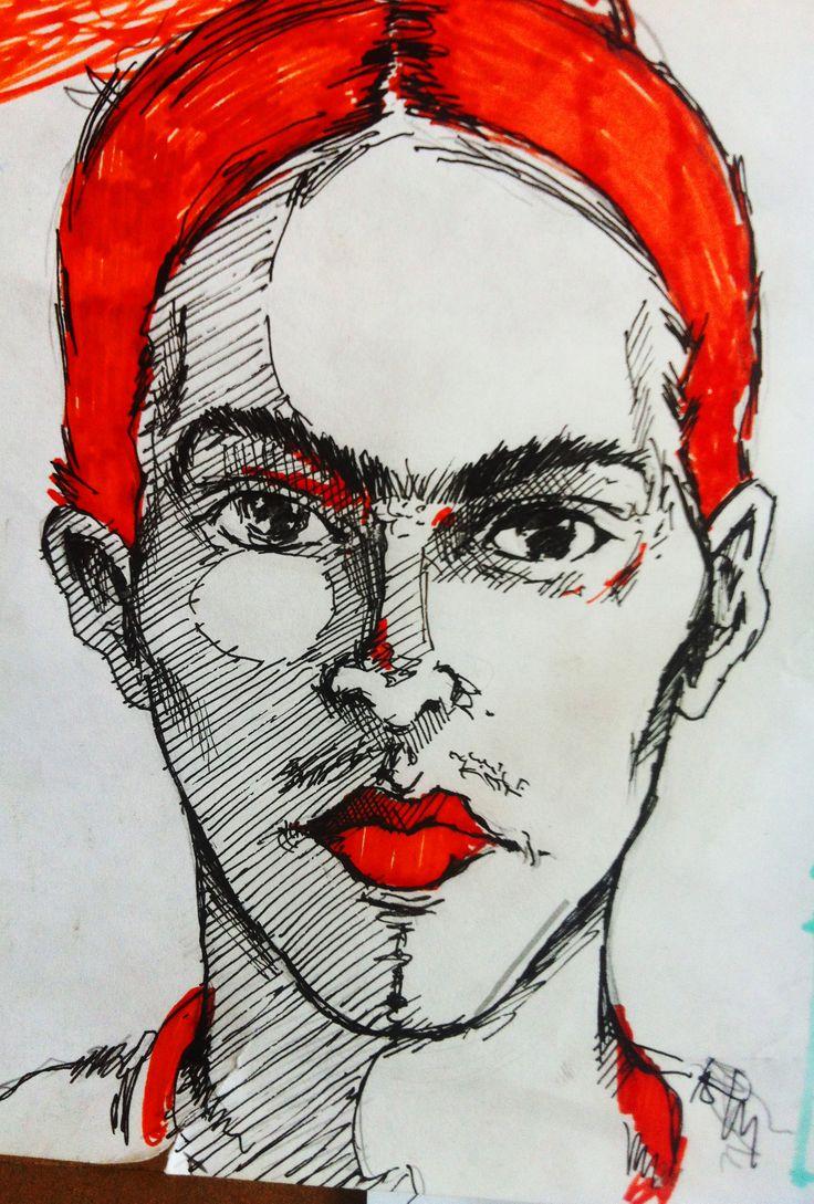 bde577d00de Frida Kahlo. Dibujo a tinta y sharpie rojo.