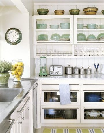 "Kitchen: Glass-Front cabinets ""reminiscent of 19th-century apothecary cabinets"" by bertie"