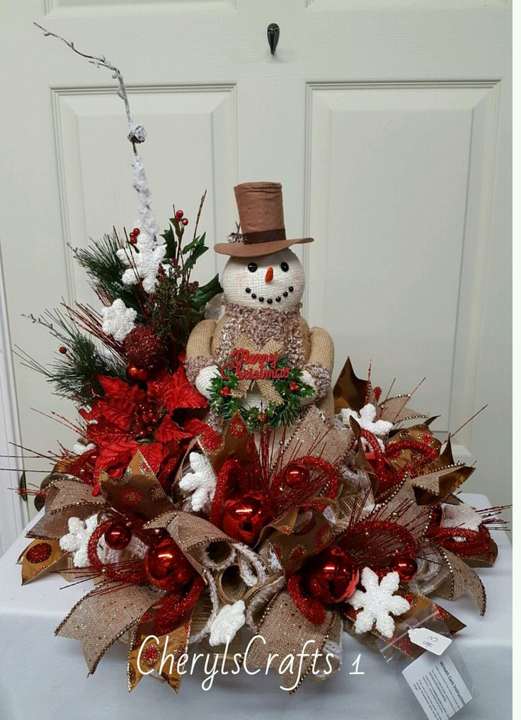 Christmas centerpiece snowman winter
