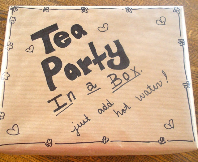 Tea party in a box. What a great idea to send to a special person. I can see this change up by doing hot cocoa and cookies for a snowman tea party.         Sent this to my aunt in a nursing  home ,she loved it!