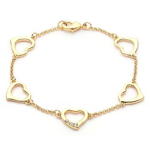 Linked Hearts Chain Bracelet with Swarovki Elements