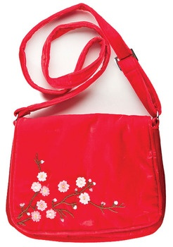 Hand embroidered blossom shoulder bag in silk velvet