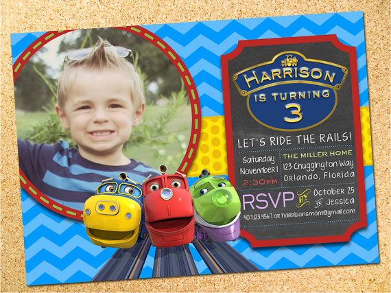 Chuggington Inspired Birthday Party Photo Invitation - Customizable - Printable - DIY