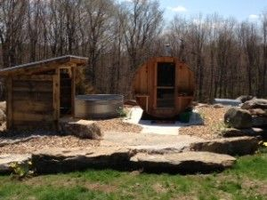 Thank you to Nancy M. from Wheelwright, MA for this beautiful photo of her new Almost Heaven Barrel Sauna!