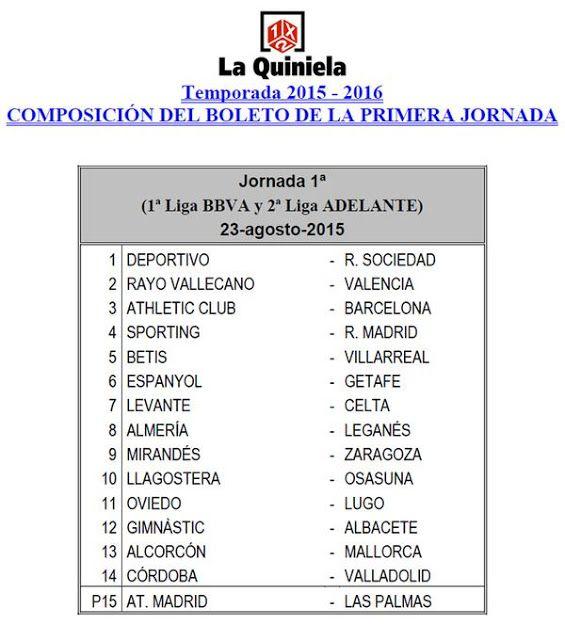 La UD Las Palmas, en la primera jornada de la quiniela de fútbol, se estrena en el pleno al 15 con...