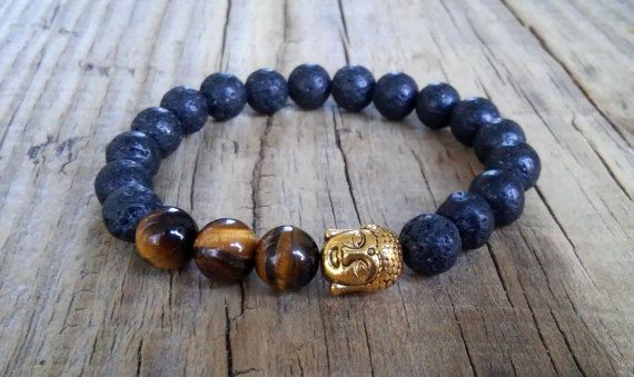 Lava stone Buddha bracelet with tiger eye beads  Buddha lava