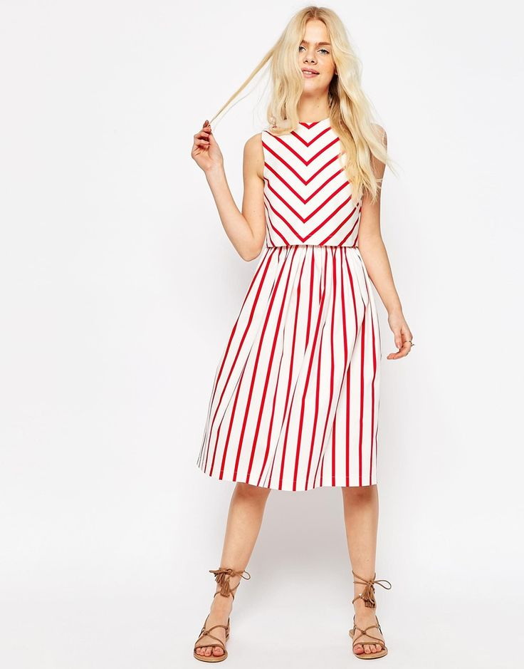 ASOS | ASOS Stripe Picnic Dress with Double Layer at ASOS