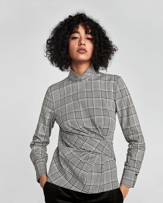 Image 2 of CHECKED DRAPED TOP from Zara