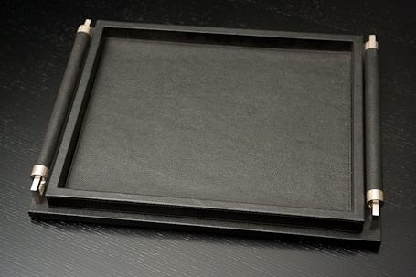 A6 9.91382 Wrapped Handle Tray - Black Leather - Large
