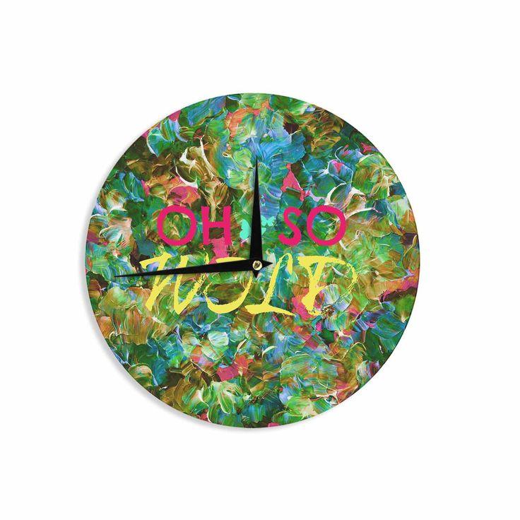 "Ebi Emporium ""Oh So Wild "" Green Yellow Wall Clock"
