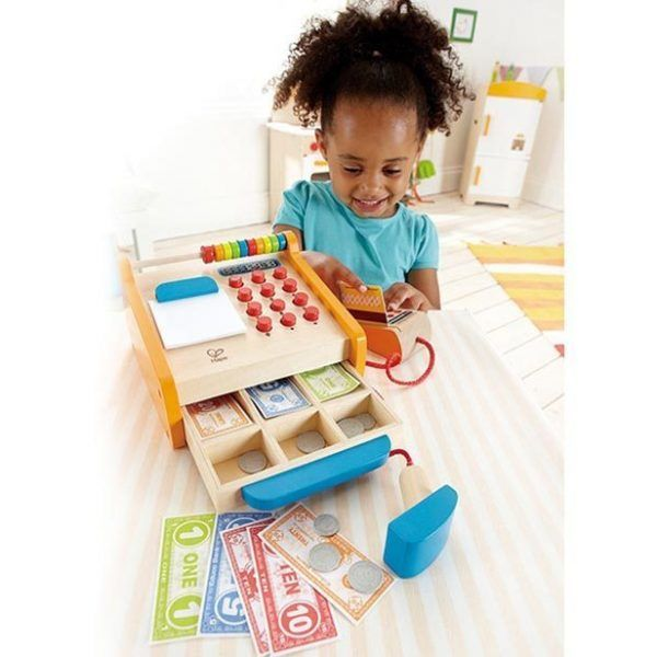 This visually engaging quality crafted wooden cash register features an opening money draw, card reader, barcode scanner, money, credit cards, and paper. With an abacus to count purchases and totals, paper holder for receipts and push buttons, the register provides for hours of imaginative play. Ideal for assisting in practical application of mathematical concepts, children will also love the vibrant colours.
