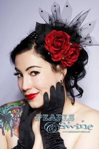Burlesque Pinup Rockabilly Wedding Flower Hair Accessory Vintage Inspired