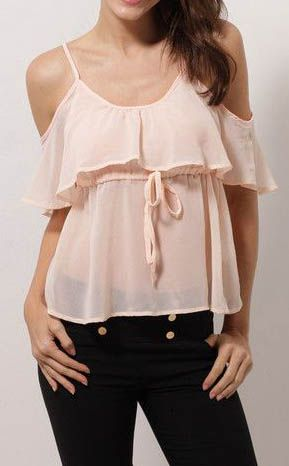 Pink Cutout Ruffle Top