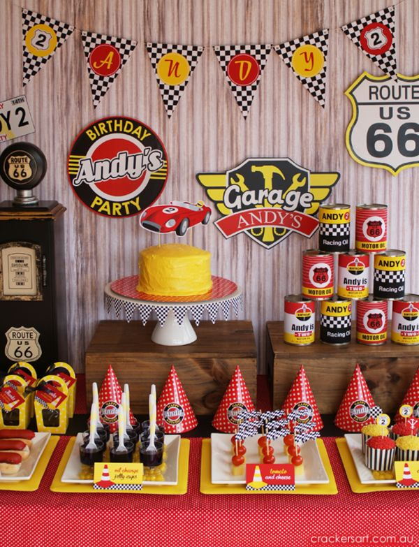 Vintage Rustic Race Car McQueen Cars Boy Party Planning Ideas