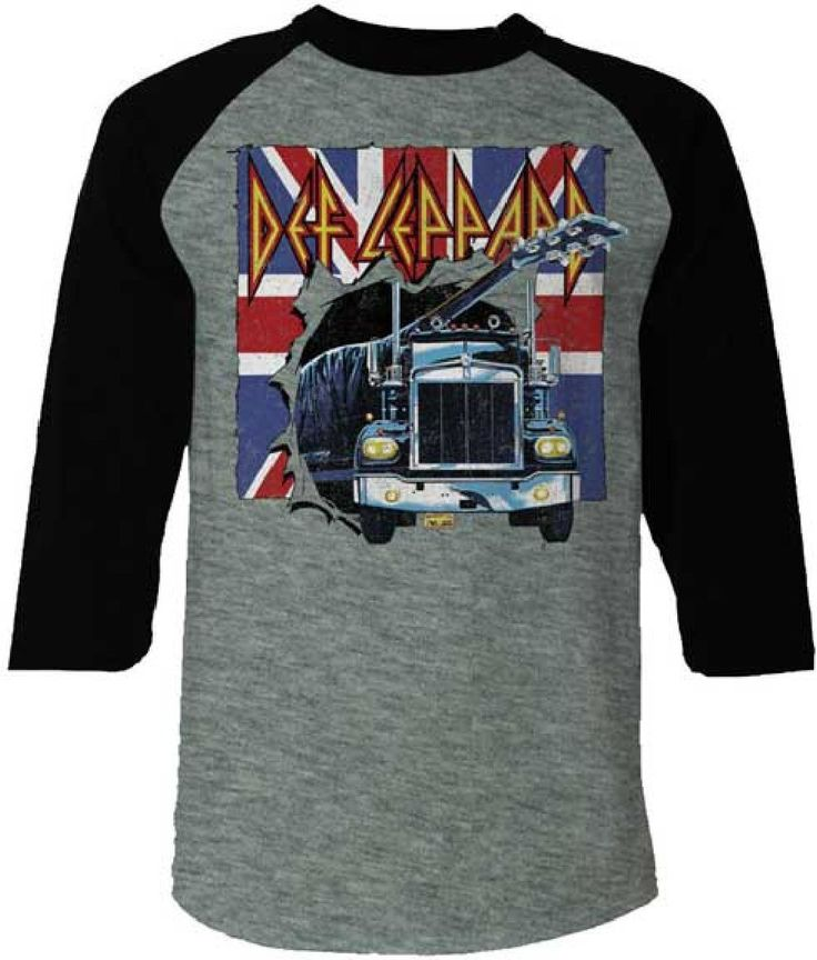 This men's retro style Def Leppard baseball jersey raglan tshirt features the classic hard rock band's famous logo, along with the semi truck carrying the guitar on its back seen on the front cover of Def Leppard's debut album, On Through the Night. On this shirt, the semi truck is driving right through the Union Jack British flag that is prominently featured in Def Leppard's band member outfits and music videos. Our tee is made from 100% gray cotton with black sleeves. #RockerRags…
