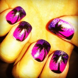 This palm tree motif might be tricky to do on your own, but your local nail salon can probably replicate it: | 21 Fun Summer Nail Art Ideas