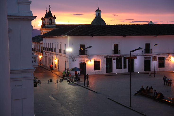 Sunset in Popayan from our reception window in ParkLife Hostel.