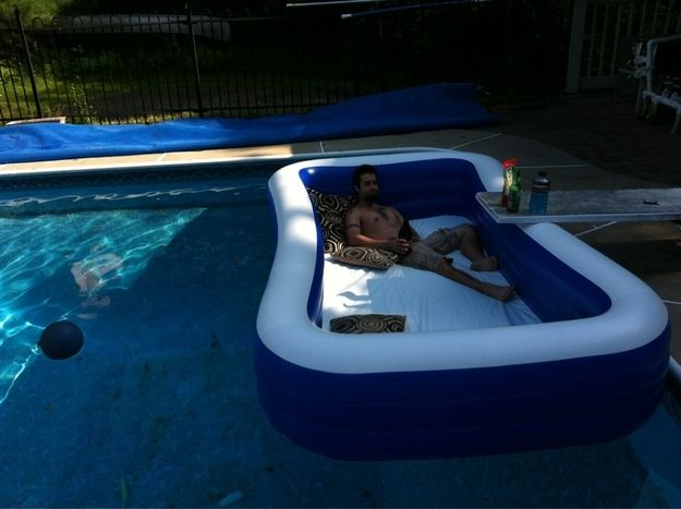 Put a pool in a pool for an awesome outdoor waterbed. Or for small children to play in while older kids enjoy the rest of the pool while you r in the pool with all of them for safety