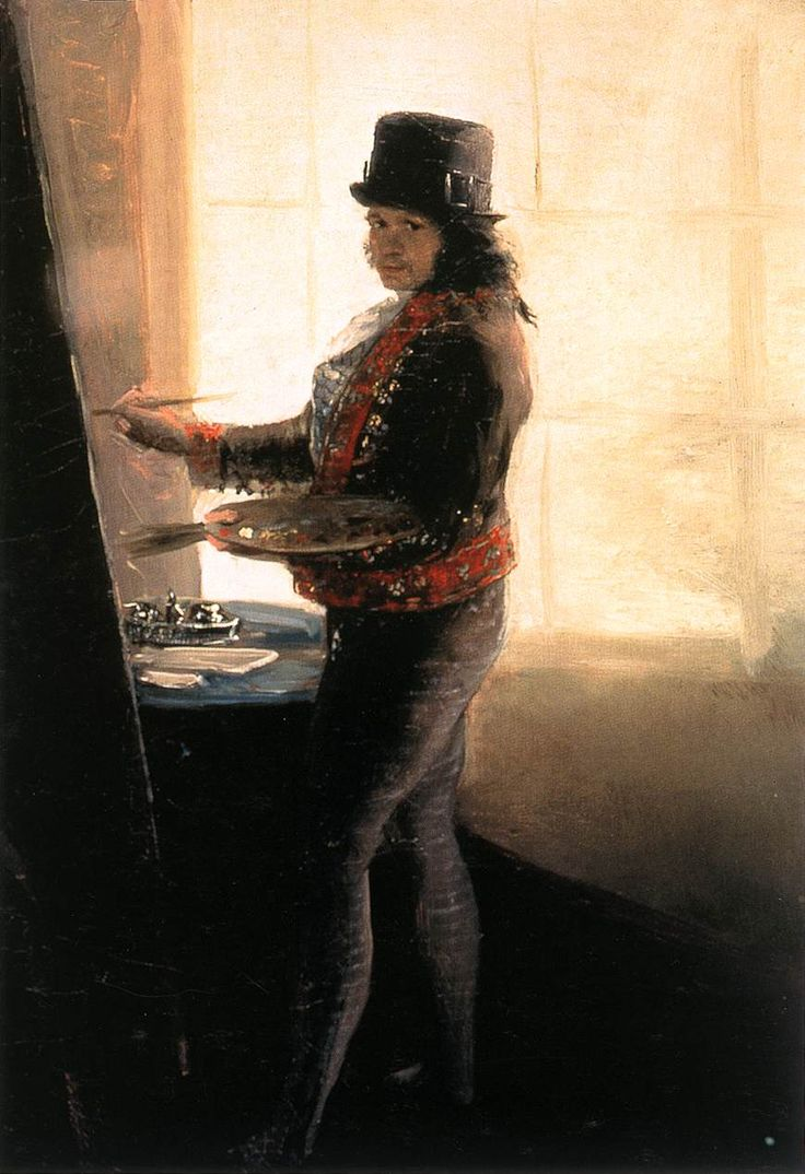 GOYA Y LUCIENTES, Francisco de Self-Portrait in the Workshop 1790-95 Oil on canvas, 42 x 28 cm Museo de la Real Academia de San Fernando, Madrid