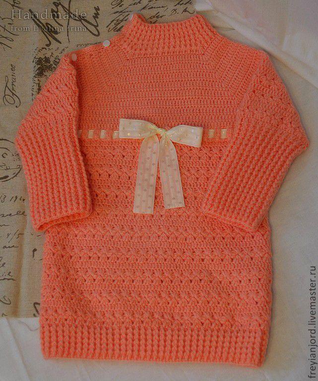 Купить Вязаный свитер крючком для девочки Цветущая Сакура - кремовый, свитер, свитер вязаный