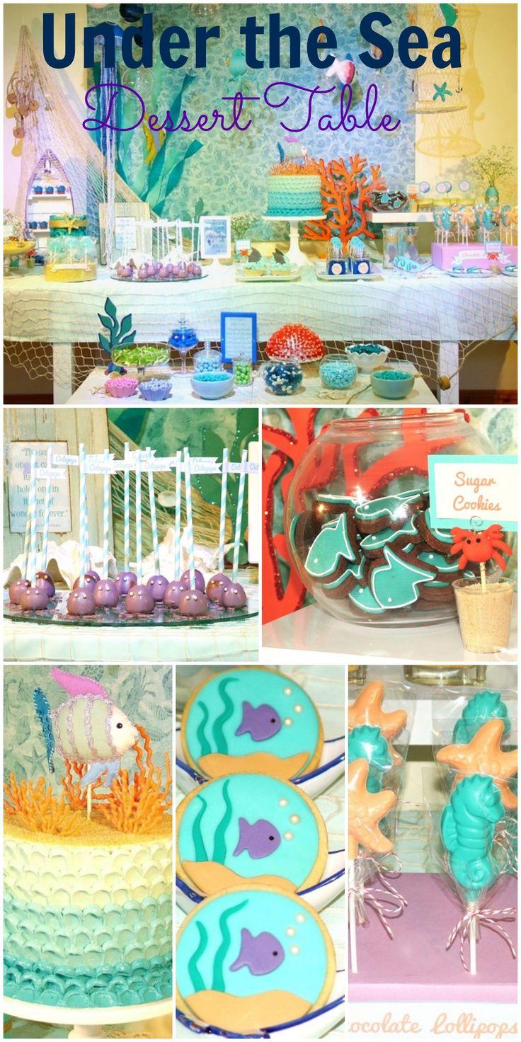 Gorgeous under the sea birthday dessert table! // Magnífica decoración de mesa de postres con temática Bajo el mar.