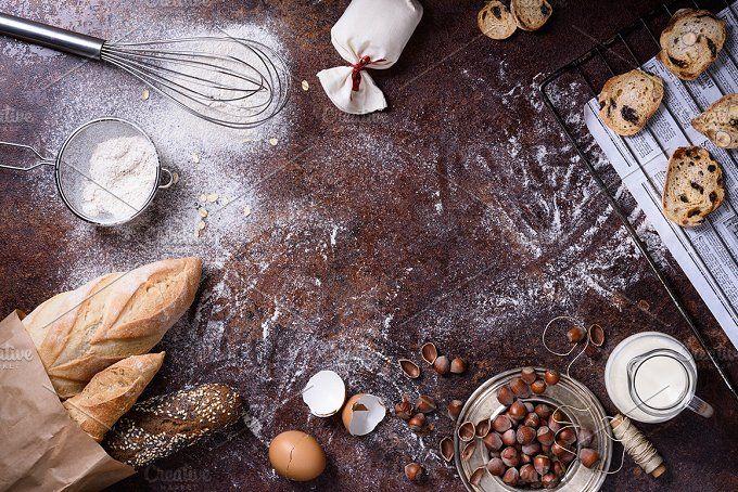 Bakery, baguette, cookies,ingrediens by Iuliia Leonova on @creativemarket