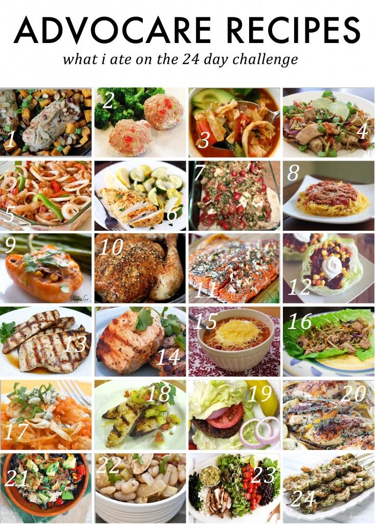 Advocare 24 Day Challenge Meal Plan - some of these I might have to skip. Who has 2 hours to prep dinner, lol, people w/o kids?