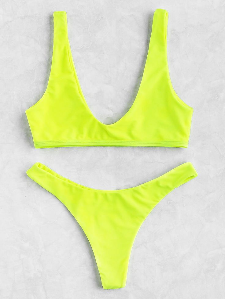 ¡Cómpralo ya!. Neon Plunge Neckline High Leg Bikini Set. Yellow Bikinis Sexy Vacation Push Up Polyester NO Swimwear. , bikini, bikini, biquini, conjuntosdebikinis, twopiece, bikini, bikini, bikini, bikini, bikinis. Bikini  de mujer   de SheIn.