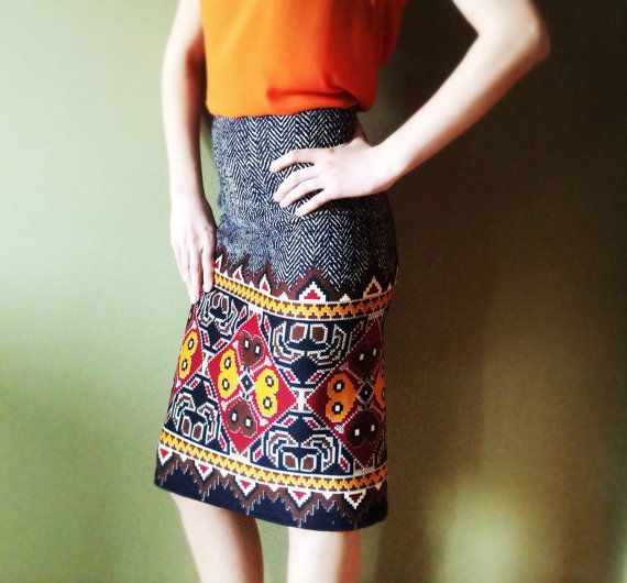 Midi knee length skirt with modern pattern by pookadesign on Etsy, $52.00 #etsy #shop #skirt