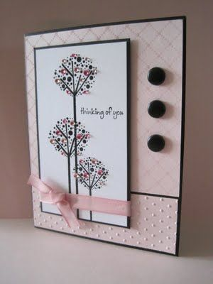 lovely handmade card ... pastel pink with black accents and lines from layering ... like this design and look ...