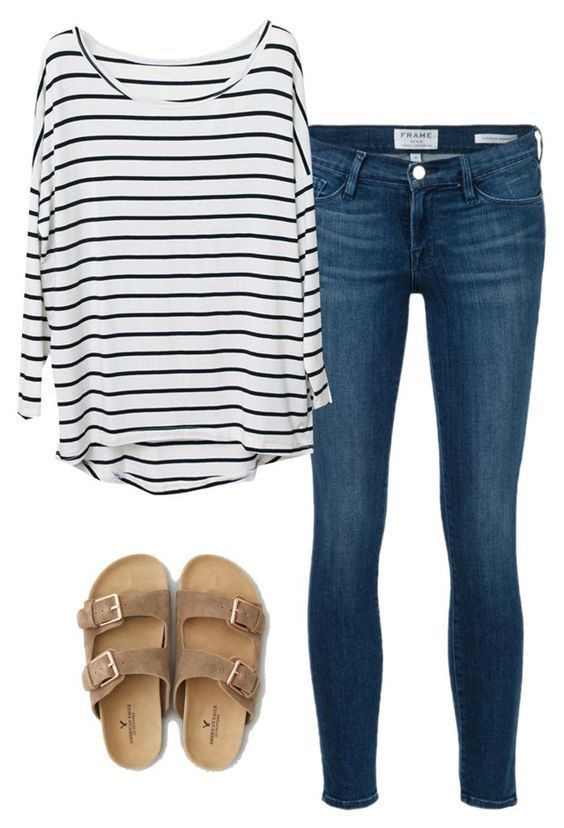 Perfect casual outfit. Love stripes!!