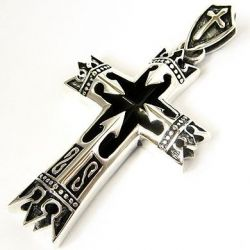 Подвеска рыцарский крест королевская корона серебро 925