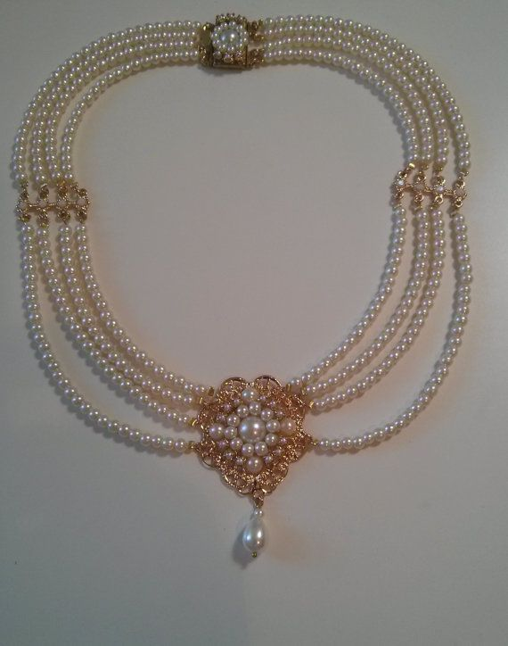 Bridal Pearl Necklace Pearls Gold Bride Choker by mylittlebride