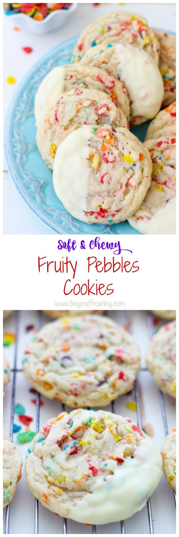 These super fun Fruity Pebbles Cookies are a soft-baked sugar cookie stuffed with fruity pebbles and dipped in white chocolate.