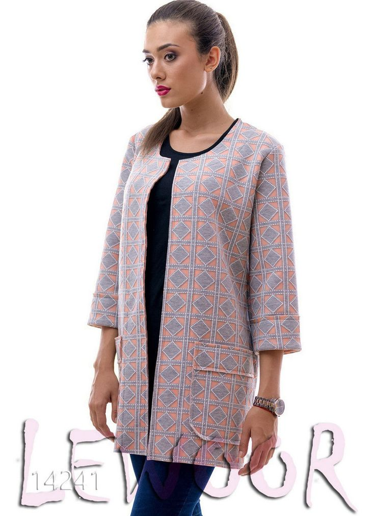 Прямой пиджак с карманами и рисунком - купить оптом и в розницу, интернет-магазин женской одежды lewoor.com