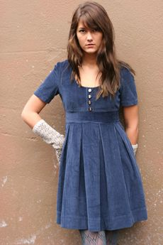 blue corduroy dress: this would be great with opaque tights & boots!