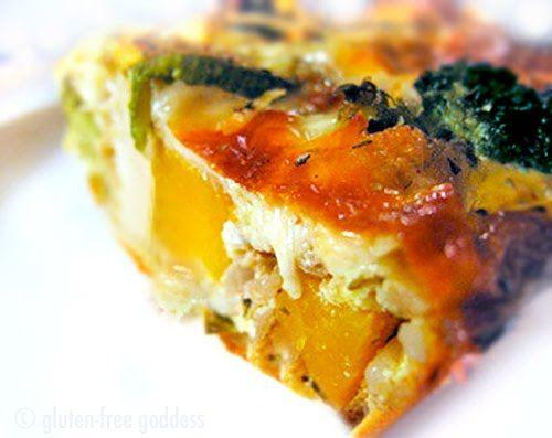 roast vegetable quiche- gluten-free.