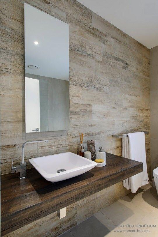 Вариант деревянного оформления стен в ванной комнате