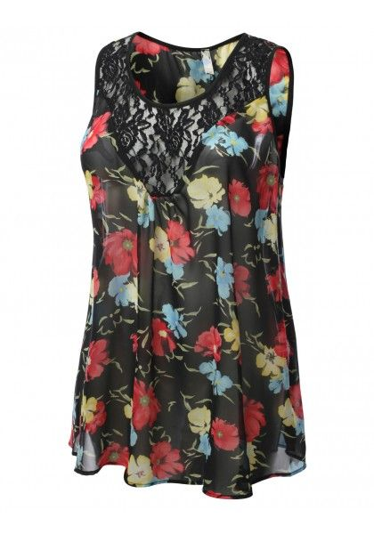 Sleeveless Floral Print Chiffon Tank with Lace Trim #jtomsonplussize