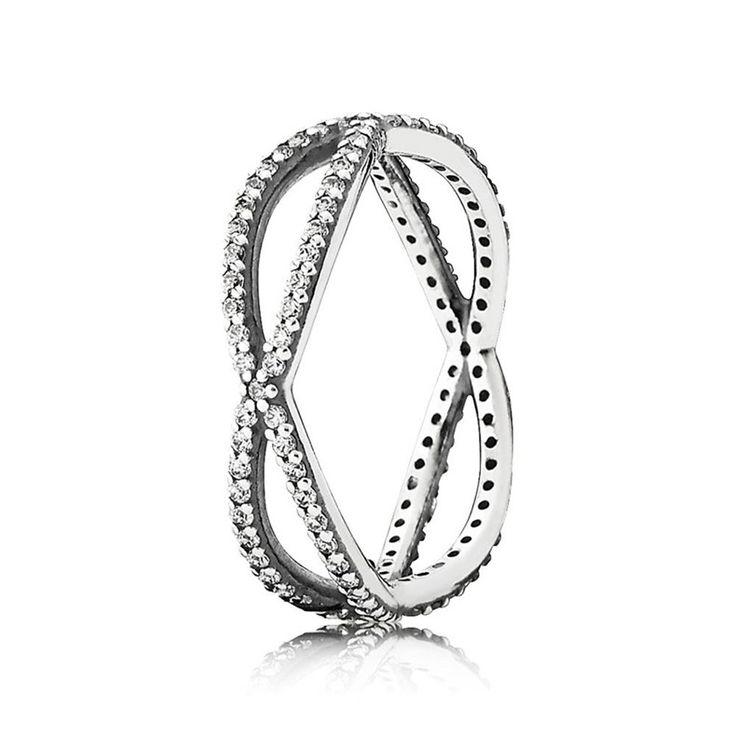 Pandora 925 Sterling Silber Glitzernd crossover ring 190930CZ