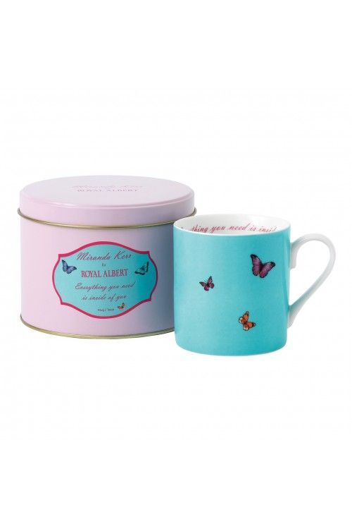 Miranda Kerr For Royal Albert Everything You Need Is Inside Of You Blue Mug In Tin at WWRD, Tanger Outlets, San Marcos, TX or call 1-800-203-4540 or 512-396-4025.  We ship.