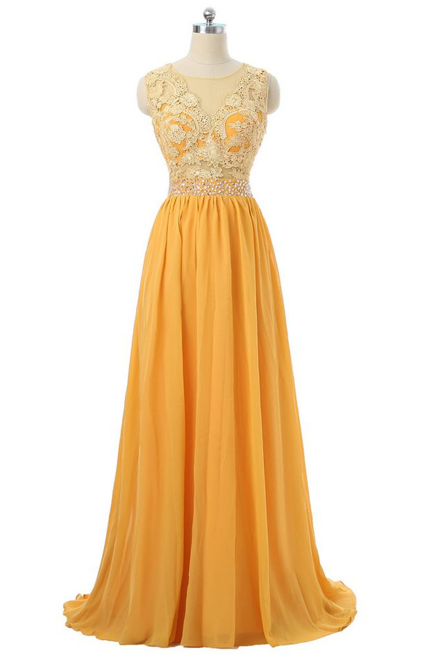 Orange Evening Dresses A-line Chiffon Lace Beaded See Through Women Long Evening Gown Prom Dress Prom Gown Robe De Soiree