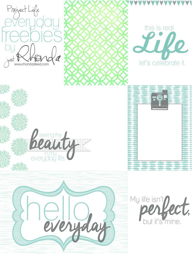 Free Everyday Project Life Journal Cards from RhondaSteed.com