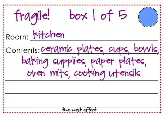 Great post from The Nest Effect on moving! She includes free printables for box labels, checklists and more! AWESOME!