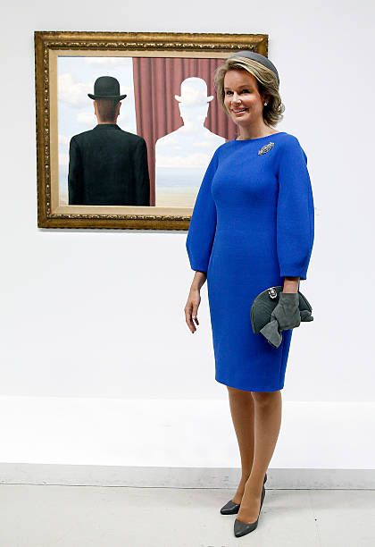 Queen Mathilde of Belgium Visits The Magritte Exhibition At Cnetre Pompidou in Paris