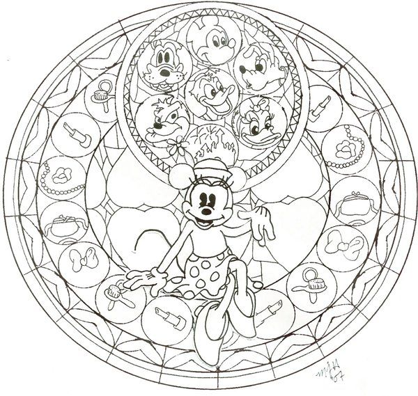 KH Minnie Stained Glass WIP By CutenCuddlyPadfoot On DeviantArt Coloring For KidsDisney
